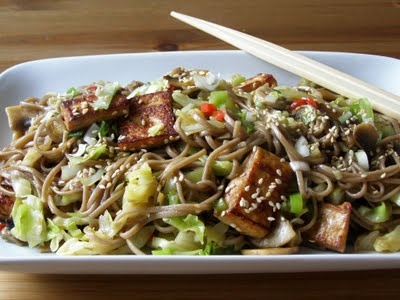 vegetable stir fry soba noodle tofu vegetable and peanut stir fry tofu ...