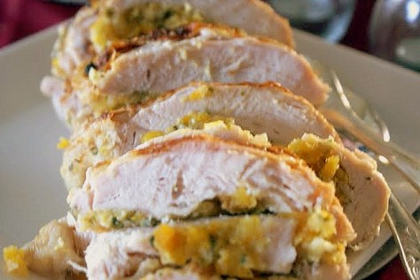 Turkey Breast with Macadamia and Apricot Stuffing